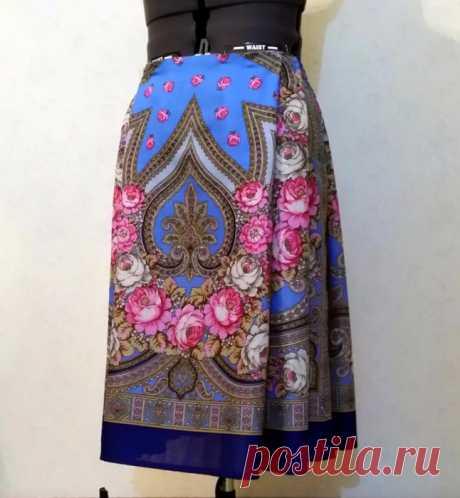 Шьем нарядную юбку в русском стиле из платка за 3 часа! Мастер-класс