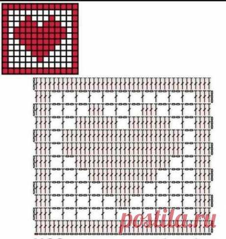 Квадратный мотив с сердечком, больше 20 схем и видео-уроков
