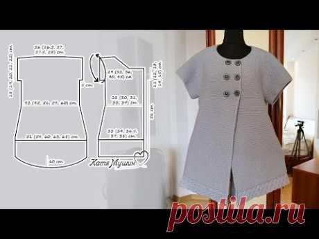 Удлиненный жилет спицами  (часть 2)🐼 Long Knit Vest 🧥