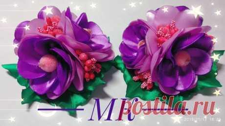 Красивые цветы из лент.Украшение для волос   Мастер-класс Алеси Кравцовой
