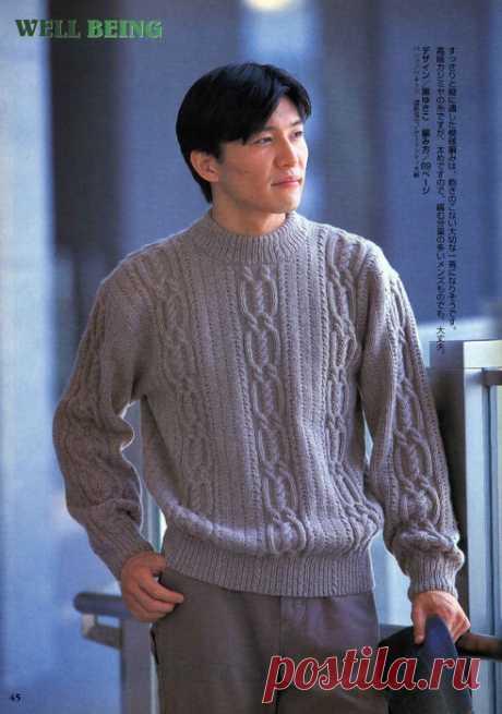 Мужской свитер с миксом узоров связан спицами по четким японским схемам