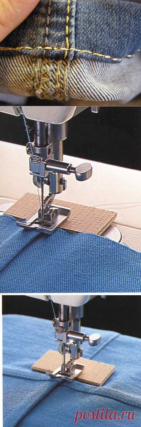 At whom the machine passes stitches on thickenings? Council... | Skilful handles