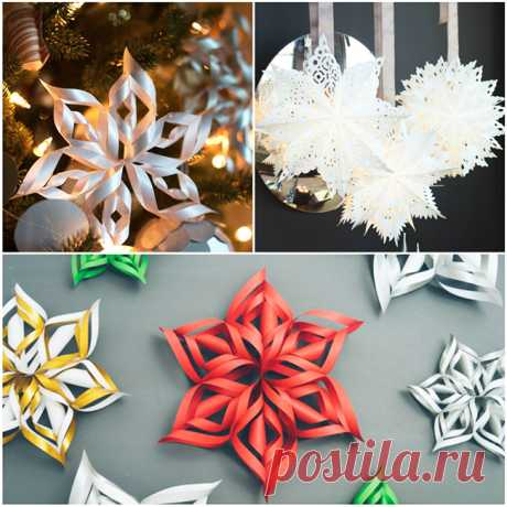 Tremendous decoration of the room for New year paper snowflakes | the Private House