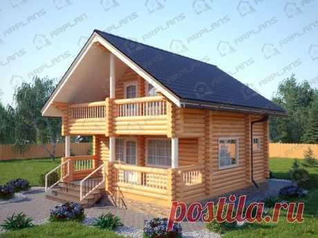 #ДомаВеранды   Проект дома из бревна с балконом и мансардой ( 88кв.м.)
