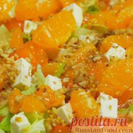 Рецепт: Оранжевый салат с мандаринами и хурмой на RussianFood.com