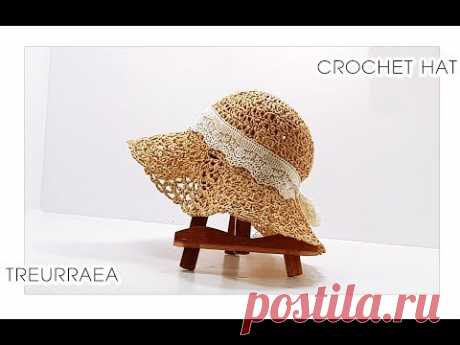 How to crochet hat([Eng sub)/かぎ針帽子/蕾丝帽子-