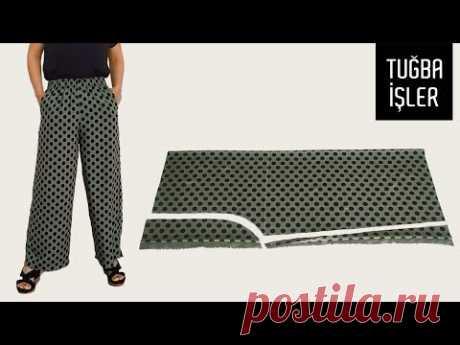 Как сшить широкие летние брюки и сделать выкройку (Очень легкий способ)