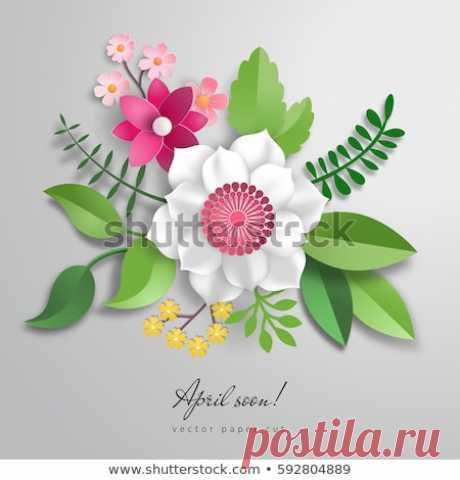Стоковая векторная графика «3 D Vector Bouquet Paper Flowers Paper» (без лицензионных платежей), 592804889: Shutterstock