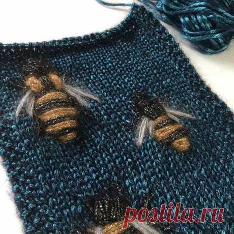 Вязано-вышитые пчелы подборка Модная одежда и дизайн интерьера своими руками