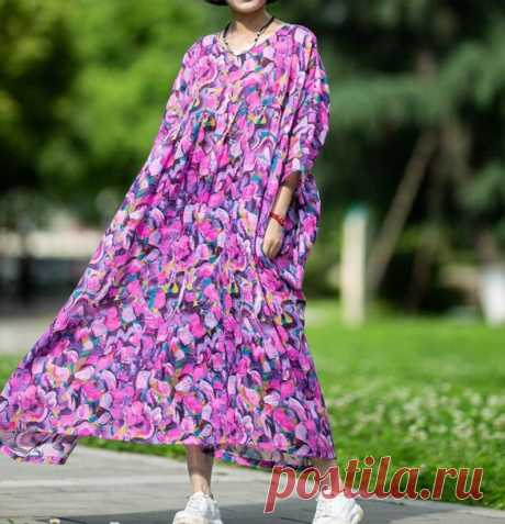 Women's oversized maxi dress purple summer long dress   Etsy