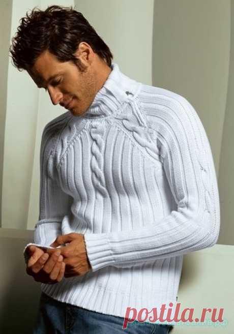 Мужской свитер Вязание мужского свитера спицами  Описание