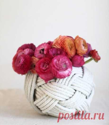 Декор ваз верёвкой