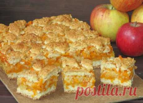 Песочный пирог с тыквой и яблоками Тыква и яблоки отлично сочетаются в выпечке, дополняя и подчеркивая вкусы друг друга. Предлагаем вам очень интересный рецепт песочного пирога с тыквой и