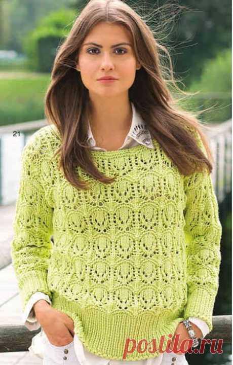 Лимонный ажурный пуловер | Ажурные Узоры