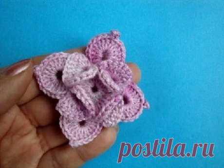Crochet Flower Вязаный цветок Урок вязания крючком 64