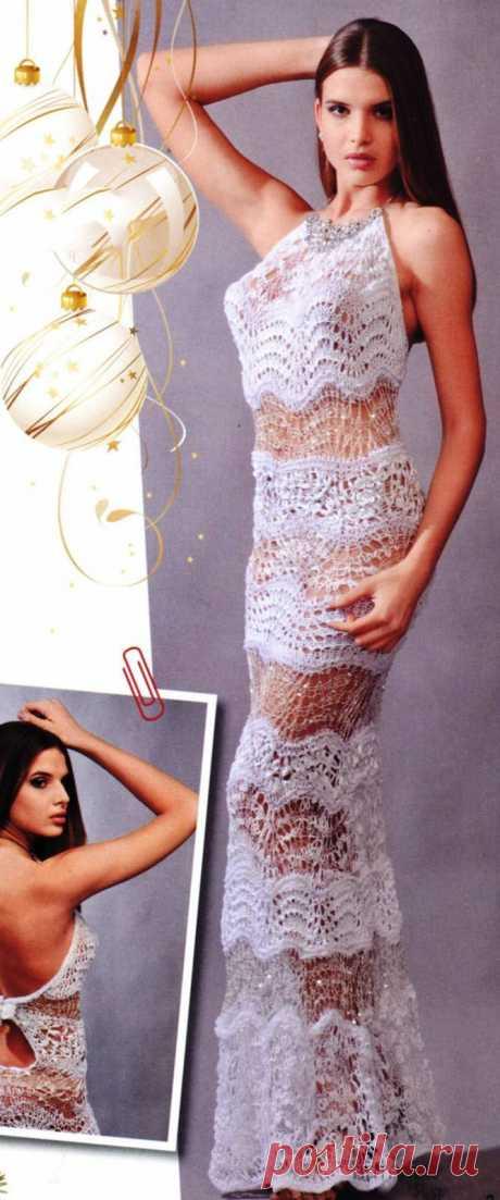 Ажурное вечернее платье спицами - Портал рукоделия и моды