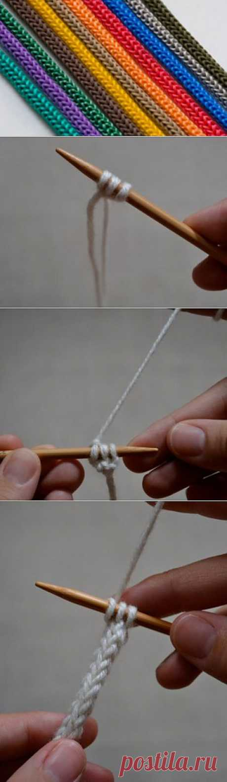 Как вязать шнур спицами