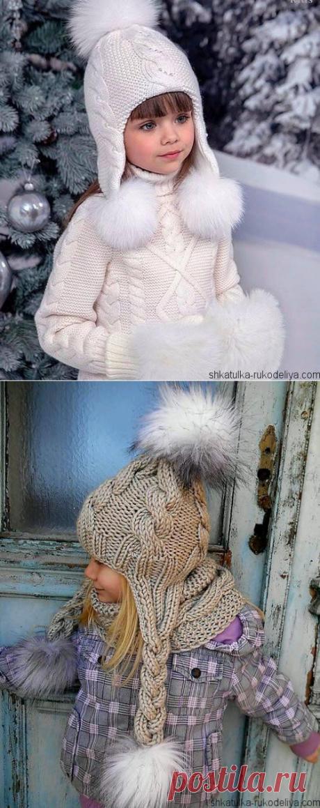 Шапка с длинными ушками спицами. Модная шапка для девочкиспицами описание   Шкатулка рукоделия