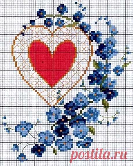 Сердечная вышивка
