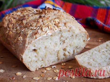 С нежной структурой и хрустящей корочкой;) Овсяный хлеб без замеса — Вкусные рецепты