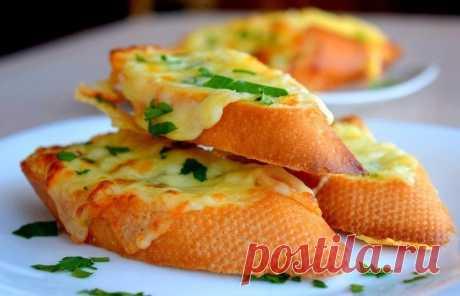 Чесночный бутерброд с сыром в духовке — Sloosh – кулинарные рецепты