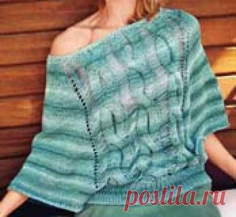 Летний пуловер-пончо спицами для женщины