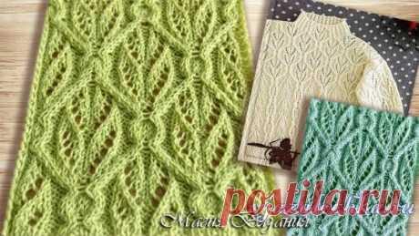 Интересный узор к свитеру спицами