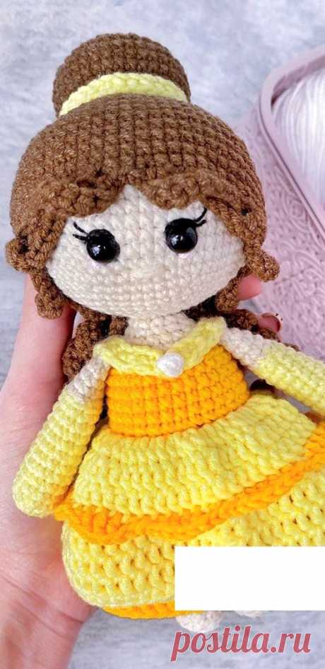 PDF Кукла Белль крючком. FREE crochet pattern; Аmigurumi doll patterns. Амигуруми схемы и описания на русском. Вязаные игрушки и поделки своими руками #amimore - кукла, куколка, Дисней, Красавица и Чудовище.