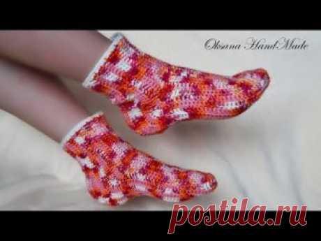 Носки крючком. Простой способ вязания. Crochet socks