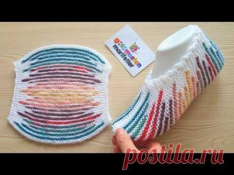 İki şişle rengarenk çizgili torba patik yapımı/iki şişle kolay patik yapımı/ iki şiş patik modelleri
