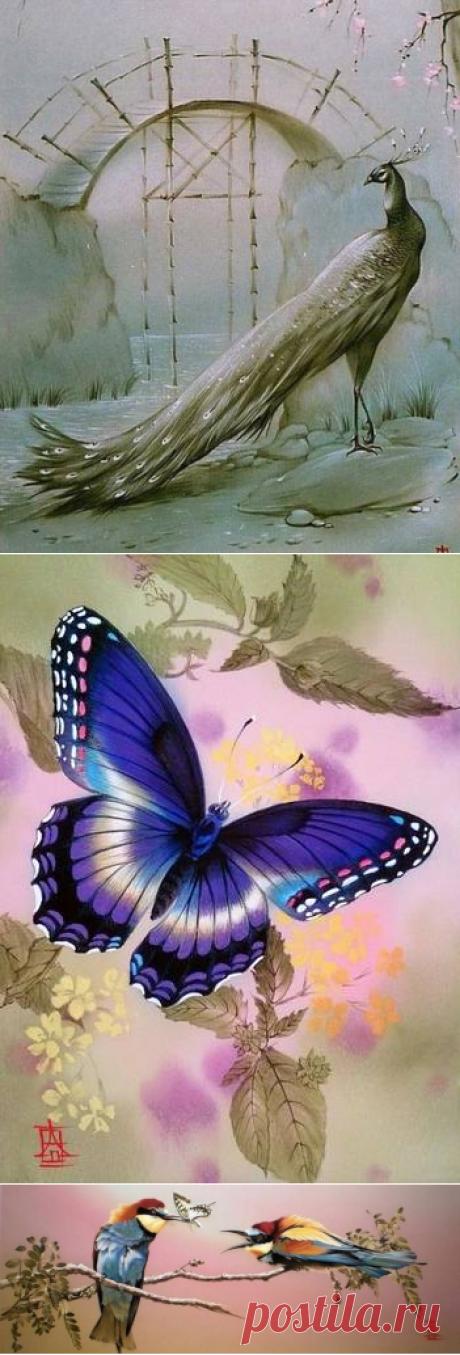 Алина Осеева. Роспись по шёлку цветы,бабочки,птицы.