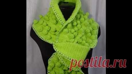 """Como vincular la bufanda de \""""la Rosa\"""".protsess las labores de punto por el gancho. La lección вязания.Crochet scarf."""