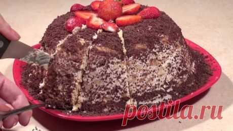 Торт из печенья без выпечки. Банановый торт рецепт.