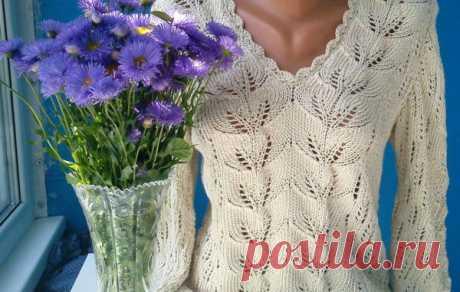 Пуловер с узором листья схема. Узор листья спицами виде мастер класс