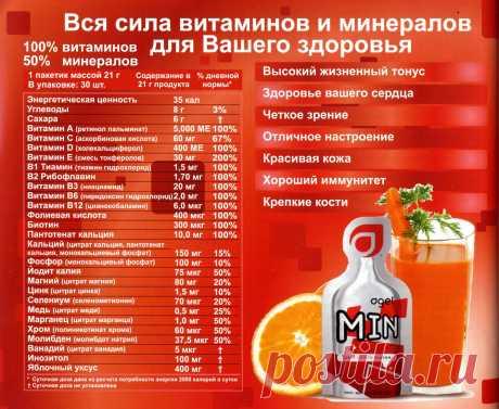 Agel MIN - суточная норма  витаминов и минералов. Наличие этих витаминов и минералов усиливается благодаря революционной гелевой технологии, на основании которой разработан MIN. Витамины и минералы, растворенные и суспензированные в гель, становятся немедленно доступными для впитывания в желудочно-кишечном тракте. MIN содержит необходимую суточную норму 12 незаменимых витаминов и высокую концентрацию 11 незаменимых минералов.