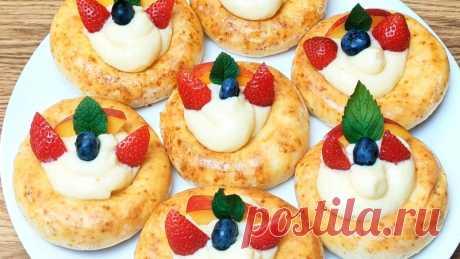 ТВОРОЖНЫЕ БУЛОЧКИ НА ЗАВТРАК с заварным кремом Творожные булочки на завтрак - это отличная идея. В этом рецепте мы используем  творожное бездрожжевое тесто. Готовьте с удовольствиемРецепт:Для теста (на 8 штук):творог - 200 гмука - 200 г яйцо - 1 штсахар - 50 гванил.сахар - 1 пакетикрастит.масло - 1 ст.лразрыхлитель - 1ч.лсоль -...