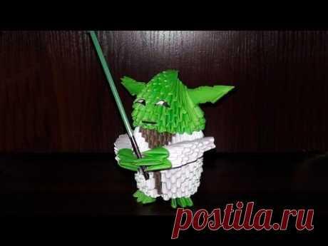 Модульное оригами джедай Мастер Йода из Звездных войн, схема сборки