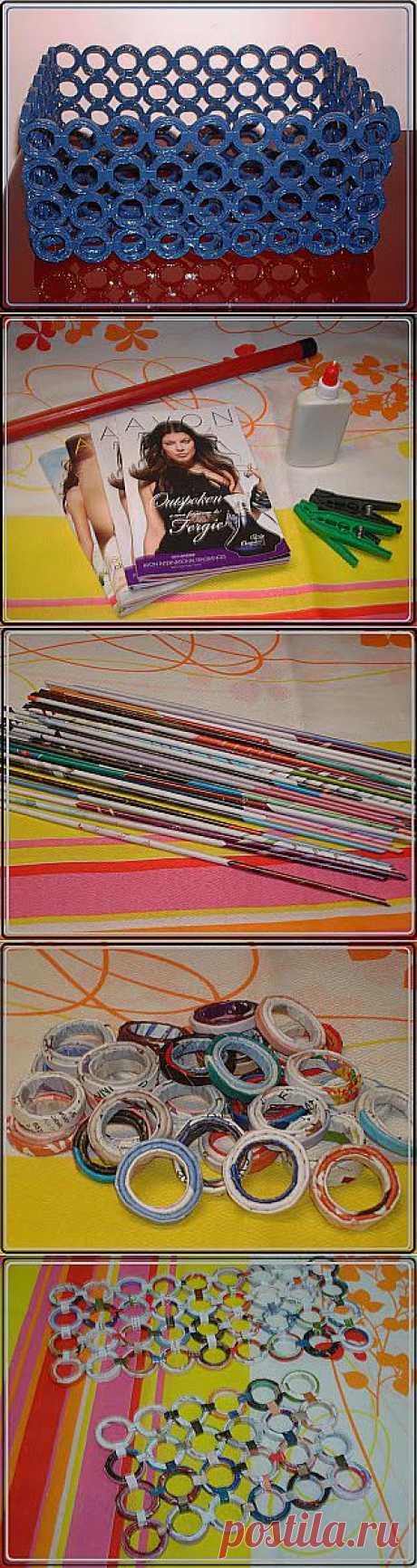 Плетение из газет: корзина из каталогов Avon.