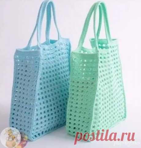Сетчатая сумка крючком. Схема. / knittingideas.ru