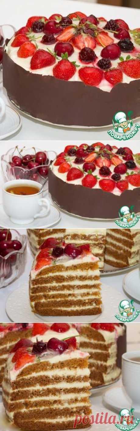 """La torta """"Медовик"""" de razlivnogo del test en la multicocción - la receta de cocina"""