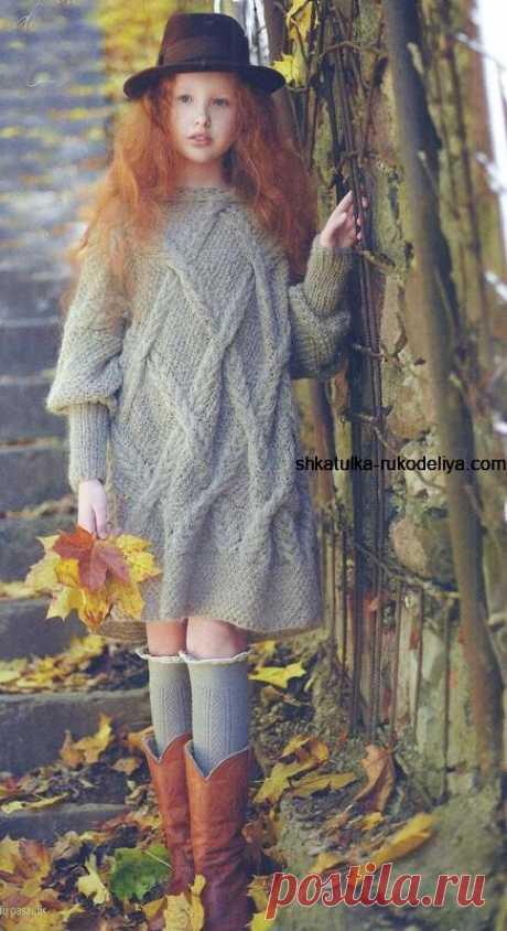 Платье – оверсайз для девочки Платье – оверсайз для девочки подростка. Как связатьплатьедлядевочки подростка спицами