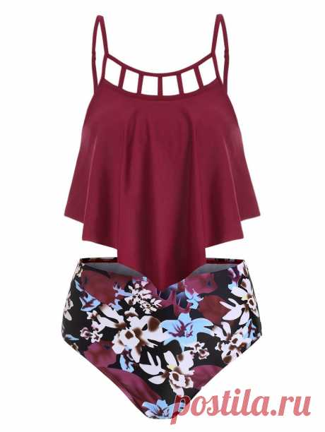 [37% OFF] 2020 Flower Lattice Flounce Overlay High Waisted Tankini Swimsuit In RED WINE | DressLily