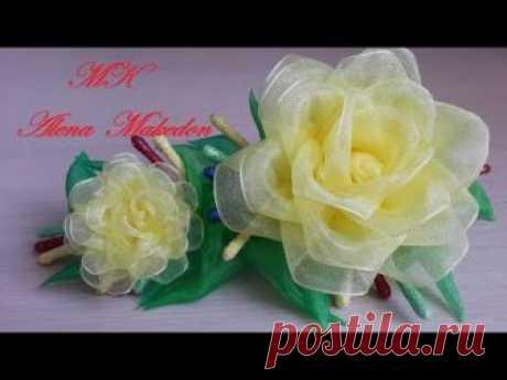 Заколка Канзаши. Желтые Розы. Органза./ A hairpin of Kanzashi. Yellow roses. Organza.