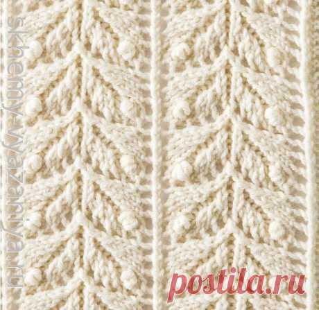 Японский узор Ажурная елочка с шишечками - схема вязания узора спицами
