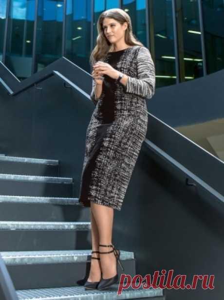 Платье-футляр для полных - выкройка № 132 В из журнала 9/2015 Burda – выкройки платьев на Burdastyle.ru