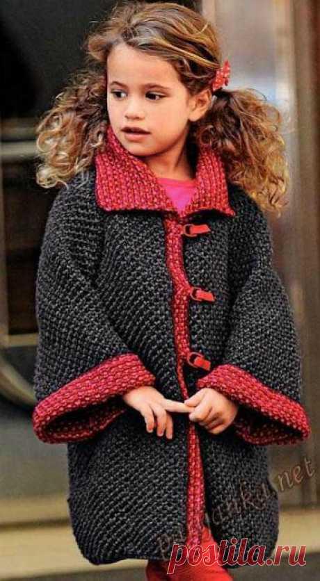Модное вязаное пальто д/девочки (спицы)