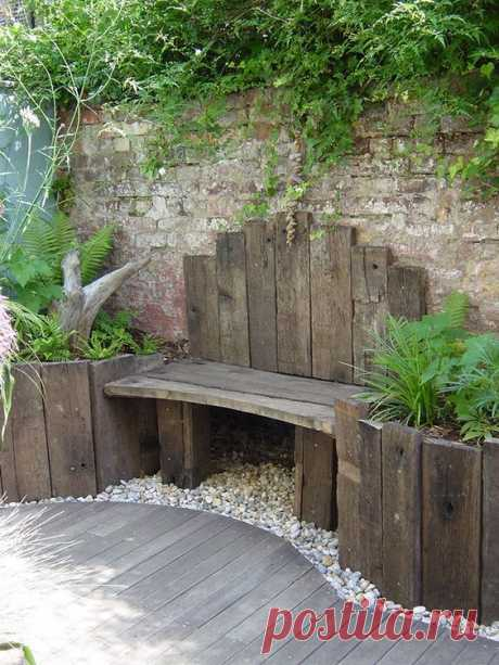 I found an ancient Bordeaux oak for the raised beds and used reclaimed decking to create the impression that the garden had been there for years.