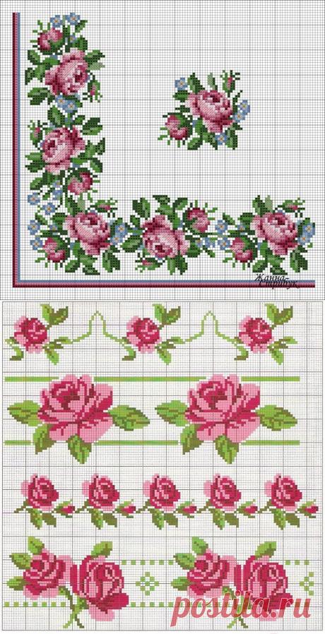Вышиваем крестиком розы: схемы — DIYIdeas