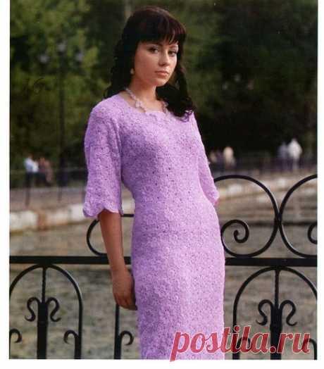 Сиреневое платье крючком схема и описание. Как связать платье из цветочных мотивов крючком |