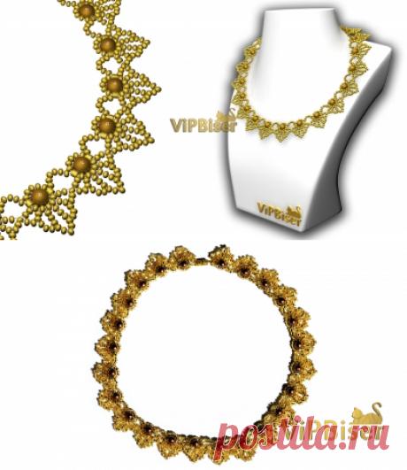Красивое ожерелье из бисера. 3D-учебник